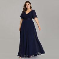 Ever-Pretty Plus Size V Neck Evening Dress Long Cocktail Party Dresses Navy Blue