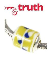 Genuine TRUTH PK 925 sterling silver YELLOW & BLUE murano glass charm bead