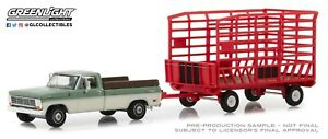 1:64 GreenLight *HITCH & TOW 15* 1969 Ford F-100 Truck & RED THROW HAY WAGON NIP