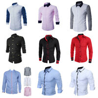 Formal Mens Long Sleeve Shirt Luxury Casual Slim Fit Stylish Dress Shirts Tops
