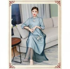 3XL Women's Stand Collar Embroidery 3/4 Sleeve Cheongsam Mesh Slit Qipao Dress