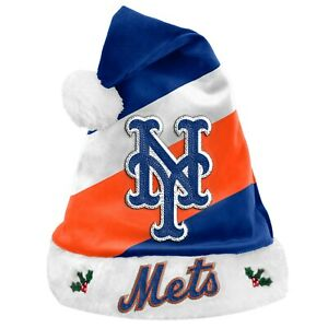 New York Mets Team Big Logo Holiday Plush Santa Hat NEW! Christmas SH19