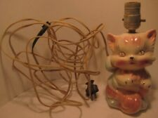 Old 1940-50 Kitten Ceramic Pottery Table Lamp - Cat w/ Bow needs rewiring