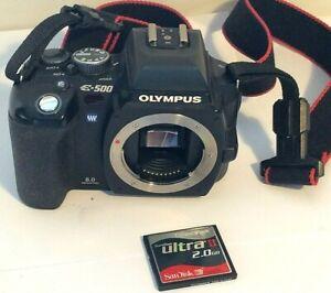 Olympus E-500 8MP Digital DSLR Camera Body Only - Black, Memory Card