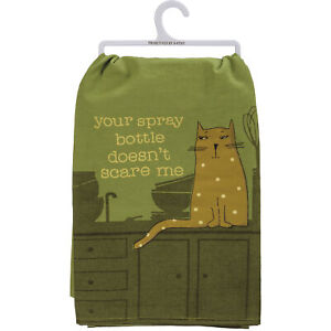 """Primitives by Kathy Kitchen Dish Towel, Your Spray Bottle Doesn't Scare Me, 28"""""""