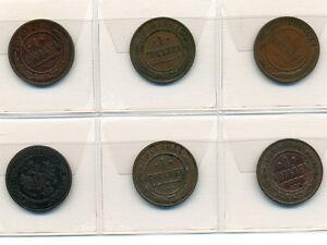 Russia Lot:1 Kopek X 6,1904-1906-1910-1911-1913-1915 * Bronze *