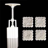 4Pcs/set Kitchen Stamps Square Flowers Moon Cake Mold Pastry Mooncake Bakeware