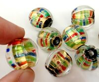 10pcs handmade Lampwork glass round Beads flower 16mm---gold foil stripe