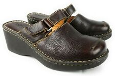 Born Brown Pebbled Leather Slip On Mules Adjustable Top Strap Women's 8