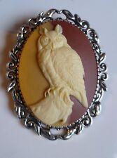 Stunning Two-Tone Owl Cameo Brooch Wedding Pin Pagan