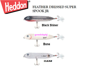"Heddon Super Spook Jr. Feather Dressed, 3-1/2"" ½ oz, Choice of Colors"