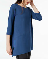 NEW Eileen Fisher Denim Blue Stretch Jersey Asymmetrical Tunic Top Petite PP