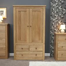 Vermont solid oak bedroom furniture double wardrobe with drawers