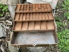 Vintage old fishing TACKLE BOX by Falls City Products Three Tray - Copper Wash