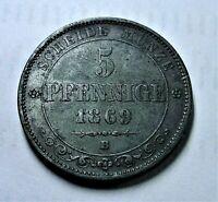 Königreich Sachsen 5 Pfennige 1869 B - Johann I. - ss bis vz / vf-xf