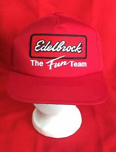 NOS Sports Specialties Red Edelbrock Trucker Baseball Hat Cap OSFA