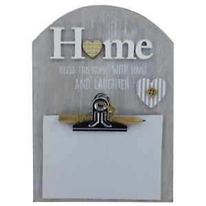 Home Clipboard Memo Notes Messages Board With Clip With Pencil & Notepad Grey