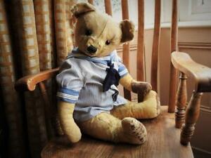 "CHAD VALLEY ANTIQUE 1920s 28"" MOHAIR CENTRE SEAM SAILOR TEDDY BEAR RAPHAEL"