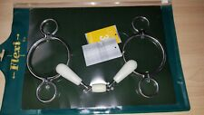 """New Metalab Flexi Double Jointed Snaffle 2 Ring Elevator Gag Bit, 5"""", Stainless"""