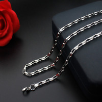 Hot Man Women 316L Stainless Steel 2mm/3mm/4mm/5mm Silver Big Box Chain Necklace