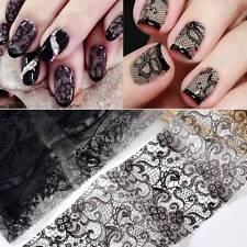 10Pcs/Set Black Lace Flower Nails Transfer Foil Beauty Nail Art Stickers Decals