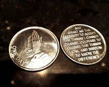 ONE DAY AT A TIME PRAYING HANDS RECOVERY CHIP AA  SERENITY PRAYER sobriety COIN