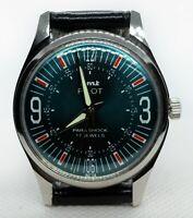 Vintage HMT Pilot Mechanical Hand winding 17J Green Dial Mens Wrist Watch  I034