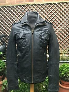 Original SUPERDRY RYAN black leather men's zip jacket size medium