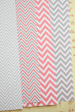 Pink & Grey Chevron Card Stock 250gsm printed cardstock wedding craft postcards