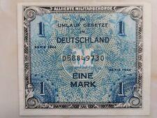 1944 German Allied Military Currency 1 Mark AU+