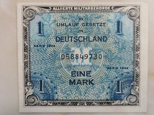1944 German Allied Military Currency 1 Mark AU+
