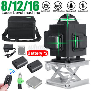 360° Rotary 3D Green Laser Level 12 Lines Self Leveling Cross Measure Tool SET a