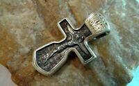 "VINTAGE STERLING SILVER ""925"" ORTHODOX SWORD-SHAPED CRUCIFIX with HYMN TEXT"