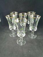 Vintage Set of 6 Shamrock Liqueur Cordial Gold Rimmed Pedestal Glasses Irish