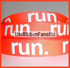 "3 yds 7/8"" Run Neon Orange Running Runner Grosgrain Ribbon Fitness Marathon"