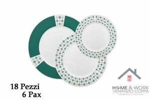Servizio Piatti tavola set 18 Pezzi In Ceramica Verde 6 persone Mod.Cassandra
