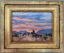 """Marjorie Reed - """"Day's End on The Range """" Oil on board"""