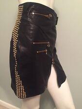 Pierre Balmain Women Black Leather Gold Studded Zippered Mini Skirt Size 40 XS S