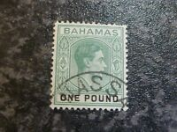 BAHAMAS POSTAGE STAMPS SG157A ONE POUND GREEN VERY FINE USED