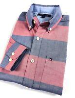 TOMMY HILFIGER Shirt Men's Chambray Oxford Red/ Navy Stripe Regular Fit