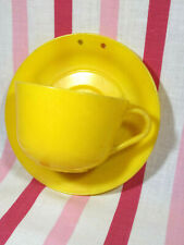 Charming Vintage 1950's Yellow Plastic Teacup & Saucer Wall Pocket Vase • United