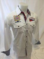 Mens AVALON  Long Sleeve Shirt NAUTICAL 2 Pocket EMBROIDERED WHITE Sailing 322