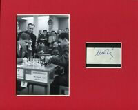Mikhail Tal World Chess Champion Rare Signed Autograph Display W/ Bobby Fischer