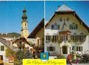 St.Gilgen am Wolfgangsee, Pfarrkirche u. Rathaus mit Mozartbrunnen ngl G4487
