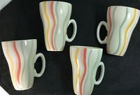 4 Vtg Canterbury Potteries Wavy Rainbow Stripes, Cinched Waste Coffee Mugs Cups
