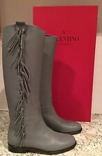 Valentino Garavani Riding Boots Flat Knee High Tall Fringe Grey 40.5/10 $1845