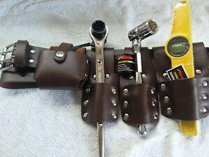 Scaffolding 5Pcs Thick Brown Leather ToolSet Belt  4 Pcs Tool Set 7.5 Tape
