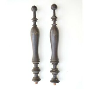 """Antique Mahogany Wood Pair Turned furniture finial salvage bed stair pole 21"""" -e"""