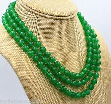 Fashion Natural 8mm Green Jade Gemstone Round Bead Necklace 56'' Long