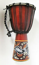 50 cm high Handcarved DJEMBE BONGO DRUM one piece wood painted Abaoriginal style